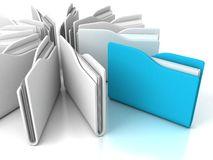 Blue office folder with documents Stock Photos