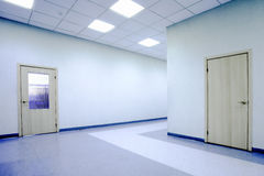 Blue office hall Stock Images