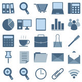 Blue office icons on white background Royalty Free Stock Image