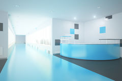Blue office lobby. Modern blue interior with reception desk. Office lobby. 3D Rendering Royalty Free Stock Photo