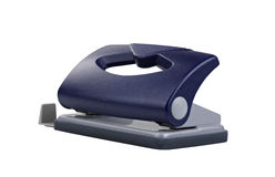 Blue office paper hole puncher. Clipping path Stock Photography