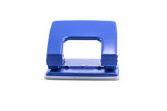 Blue office paper hole puncher isolated on white background Stock Photo
