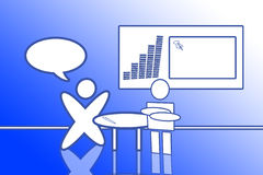Blue Office Set. It's an office set, with a man that is speaking. In the balloon you can write what you want. On the wall there is a square with a graph! In the Royalty Free Stock Photography