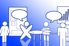 Blue Office Set - People in the break room. There are many people in the break room, two of them are speaking each other, they are different from each other! Royalty Free Stock Photo