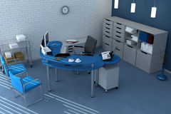 Blue office space Royalty Free Stock Photography