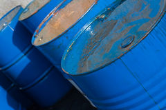 Blue oil barrels (2) royalty free stock images