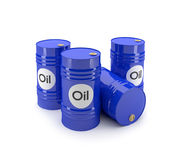 Blue oil barrels. 3D blue oil barrels on a white background Stock Photos