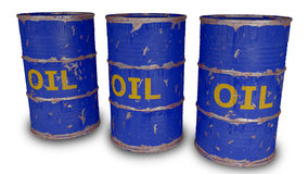 Blue oil barrels isolated on white Stock Photo