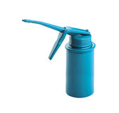 Blue oil can royalty free stock photography