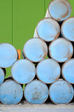Blue oil drums Royalty Free Stock Images