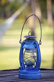 Blue oil lamp. A vintage blue oil lamp Stock Photography