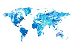 Blue Word Map with Oil Paint Texture. Design. Detailed on white background and transparent on additional file .png editable and ready for print Stock Photo