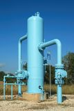Blue Oil Pipeline. Controls valves are for the oil pipeline stock photography