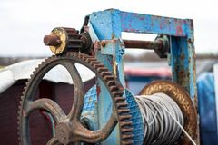 Old boat Ancient hoist pull tool stock photos
