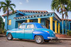 Blue old classic american car in Vinales Cuba Royalty Free Stock Photography