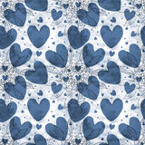 Blue old color love flower shape seamless pattern Stock Images