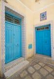 Blue old door Stock Photo