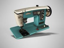 Blue old electric sewing machine falls on the floor 3d render on gray background with shadow vector illustration