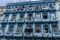 Blue old facade building from la havana, Cuba Stock Images