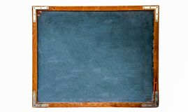 Blue old grungy vintage wooden empty school chalkboard or retro blackboard with weathered frame white background