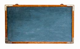 Blue old grungy vintage wooden empty wide chalkboard or retro blackboard with weathered frame and isolated on white. Blue old grungy vintage wooden empty wide royalty free stock photos