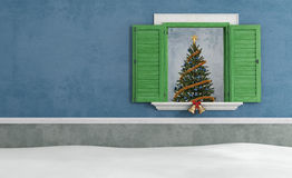 Blue old  house with christmas decoration Royalty Free Stock Photography