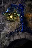Blue old lantern. Old blue lantern on the wall in Moroccan stile Royalty Free Stock Photos