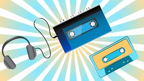 Blue Old Retro Vintage Hipster Portable Music Cassette Audio Player For Audiocassettes From The 80`s, 90`s, Audio Cassettes And Royalty Free Stock Images