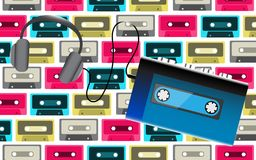 Blue old retro vintage hipster realistic portable music cassette audio player for audio cassettes from the 80`s, 90`s and headph. Ones on the background of Royalty Free Stock Image