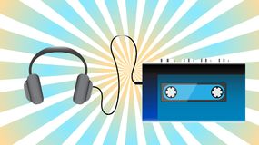 Blue old retro vintage hipster realistic volumetric portable music cassette audio player for playing audio cassettes from the 80`. S, 90`s and headphones against Stock Photo