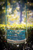 Blue old  and rusty iron swings Stock Image