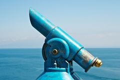 Blue old telescope Stock Photos