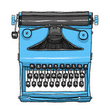 Blue old Typewriter hand drawn cute art illustration Stock Images