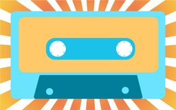 Blue old, vintage, retro, hipster, musical audiocassette from the 80`s, 90`s against the background of yellow sunlight. Vector illustration Royalty Free Stock Photography