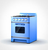 Blue old vintage retro stove. Perspective view of blue old vintage retro stove Royalty Free Stock Photography