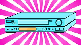 Blue Old Vintage Volumetric Retro Hipster Antique VCR for videocassettes for watching movies, videos from the 80`s, 90`s against. The background of purple rays stock illustration