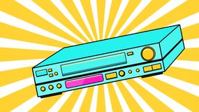 Blue Old Vintage Volumetric Retro Hipster Antique VCR for videocassettes for watching movies, videos from the 80`s, 90`s on a ba. Ckground of yellow rays. Vector vector illustration
