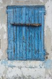 Blue old wooden window. Old wooden window in blue colour. Photo taken on: September 27, 2016 Stock Photos