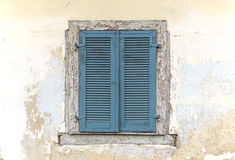 Blue old wooden window shutters Royalty Free Stock Photos