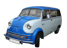 Blue oldtimer. Mini van isolated Royalty Free Stock Images