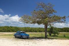 Blue oldtimer car in Cuba. Blue oldtimer car on the beach in Cuba Royalty Free Stock Photos