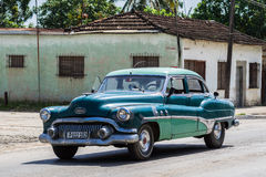 Blue Oldtimer on the street in Cuba Royalty Free Stock Images