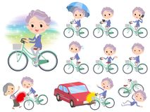 Blue one piece old women_city bicycle. Set of various poses of blue one piece old women_city bicycle vector illustration