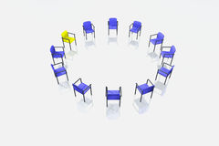 Blue and one yellow chairs on white background Stock Photography