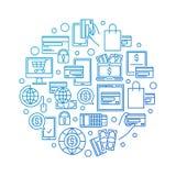 Blue online payment illustration Stock Image