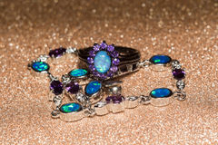 Blue Opal Ring. Fashion ring decorated with blue fire opal stones stock image