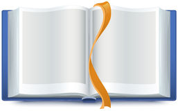 Blue open book with a bookmark Royalty Free Stock Images