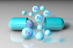 Blue open capsule and mineral ferrum pills. Mineral and vitamin complex. Healthy life concept. 3d illustration stock illustration