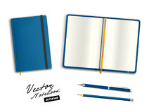 Blue open and closed copybook template with elastic band and bookmark. Realistic stationery cerulean blue  pen and  pencil. Royalty Free Stock Image