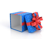 Blue open Gift Box with red ribbon and bow. Royalty Free Stock Photography